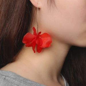 Long Bohemian Resin Flower Petal Dangle Earrings